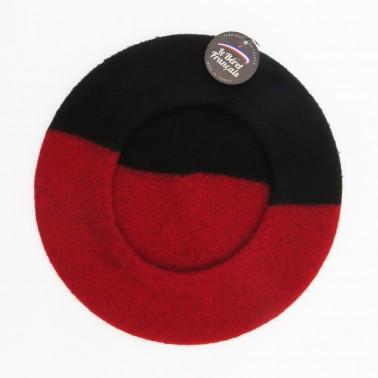 Béret duo noir et rouge