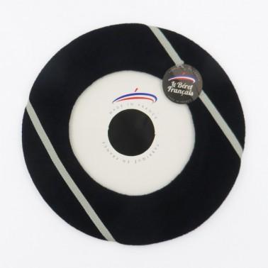 Kiriko Beret - Black/ Ecru lines
