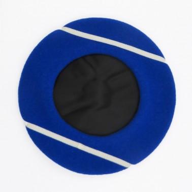 Kiriko Beret - Royal Blue/ Ecru lines