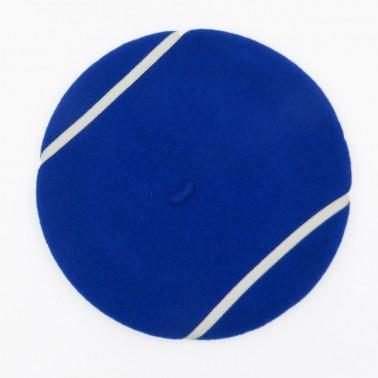 Béret Kiriko Bleu Royal ruban Ecru