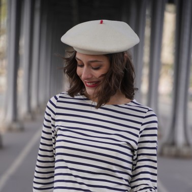 Premium Off White Beret Woman