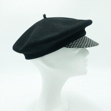 Beret black cap & houndstooth